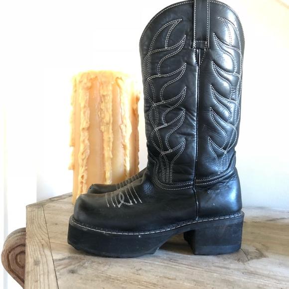 4a8dee18ee1 John Fluevog platform black cowboy boots